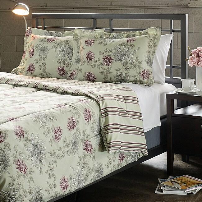 Water Flower Purple 3-Piece King-size Comforter Set