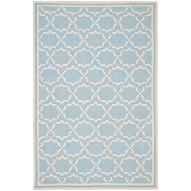 Safavieh Hand-woven Moroccan Reversible Dhurrie Light Blue/ Ivory Wool Rug (3' x 5')