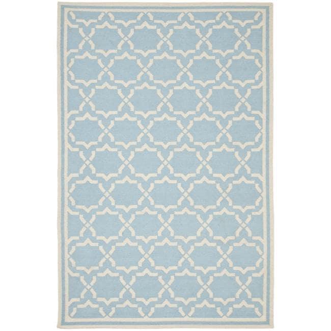 Safavieh Moroccan Light Blue/Ivory Reversible Dhurrie Wool Area Rug (6' x 9')
