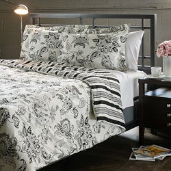 Cordoba Black Full/ Queen-size 3-Piece Duvet Cover Set