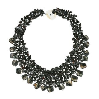 Black Onyx and Sea Shells Cluster Toggle Necklace (Philippines)