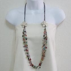 Cotton Long Double White Flowers Multi-gemstone Necklace (Thailand)