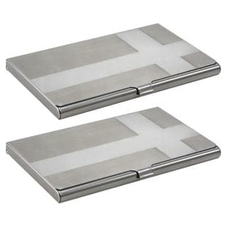 Cross Brushed-silver Business Card Holder Case (Pack of Two)
