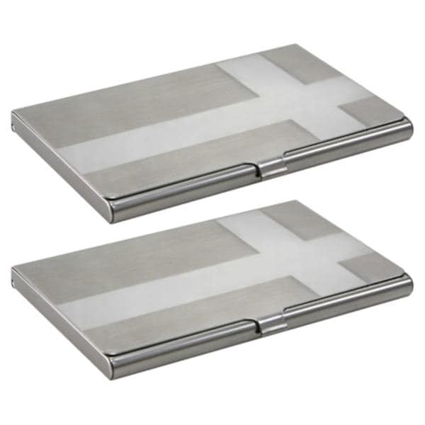 Zodaca Cross Brushed-silver Business Card Holder Phone Case Cover (Pack of Two)