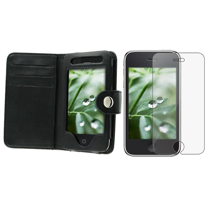 INSTEN Black Leather Phone Case Cover/ Screen Protector for Apple iPhone 3GS
