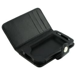 Black Leather Case/ Screen Protector for Apple iPhone 3GS