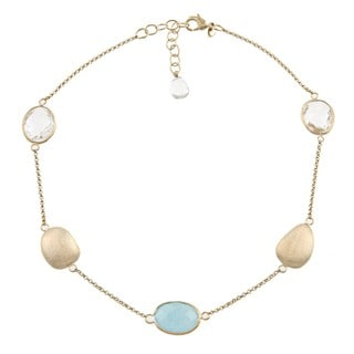 Rivka Friedman 18k Goldplated Blue Quartzite and Crystal Necklace