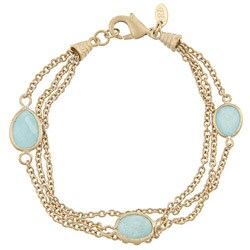 Rivka Friedman 18k Goldplated Caribbean Blue Quartzite Bracelet