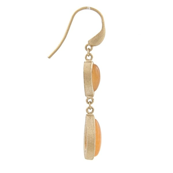 Rivka Friedman Gold Overlay Orange Quartzite Teardrop Earrings