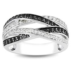 Miadora Sterling Silver 7/8ct TDW Black and White Diamond Ring (G-H, I3)