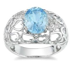 Miadora Sterling Silver Sky Blue Topaz and Diamond Accent Ring