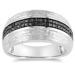 M by Miadora Sterling Silver 1/4ct TDW Black Diamond Ring