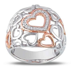 Miadora Sterling Silver 1/10ct TDW Diamond Heart Ring (G-H, I3)