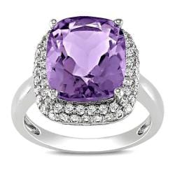 Miadora Sterling Silver Cushion-cut Amethyst and Created-white-sapphire Ring