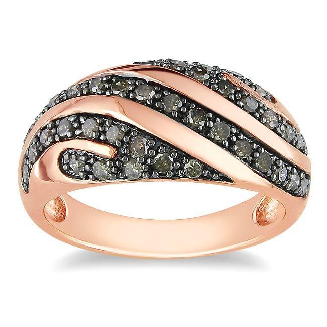 Miadora Pink Silver 1/2ct TDW Round-cut Brown Diamond Ring