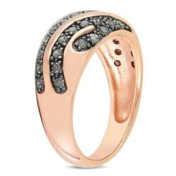 Miadora Pink Silver 1/2ct TDW Round-cut Brown Diamond Ring