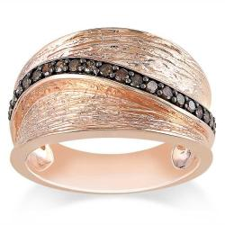 Miadora Pink Silver 1/4ct TDW Brown Diamond Ring