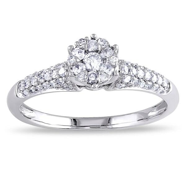 Miadora 14k White Gold 1/3ct TDW Diamond Engagement Ring (G-H, I1-I2)