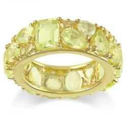 Miadora Yellow Silver Multi-shaped Lemon Quartz Fashion Ring