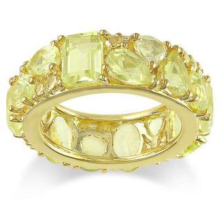 Miadora Yellow Silver Multi-shaped Lemon Quartz Fashion Ring