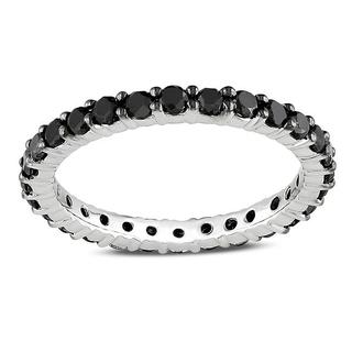 Miadora 14k White Gold 1ct TDW Black Diamond Eternity Ring