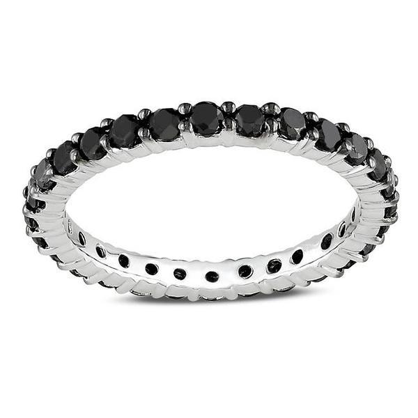 Miadora 14k White Gold 1ct TDW Black Diamond Eternity Ring