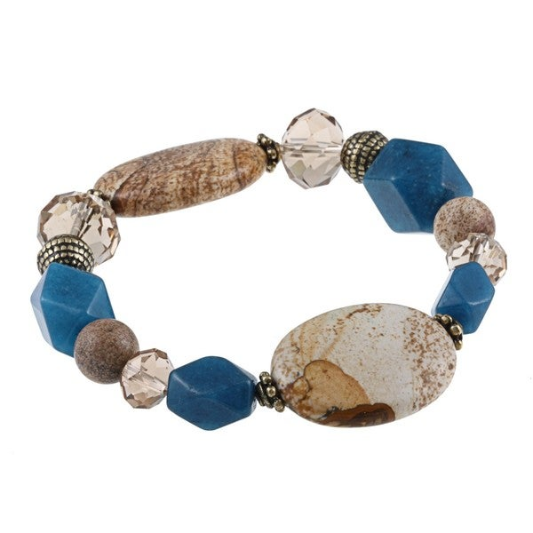 Alexa Starr Goldtone Picture Jasper and Blue Jade Stretch Bracelet