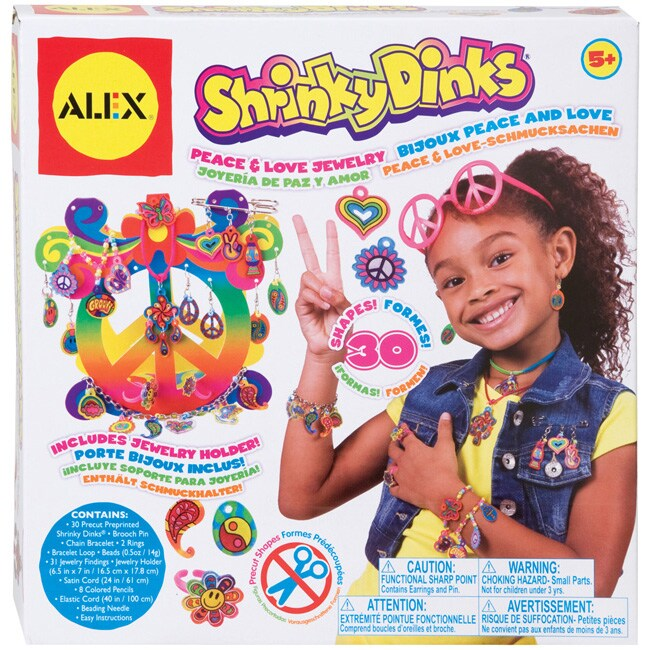 Shrinky dinks peace and love color and bake kid 39 s jewelry for Alex toys craft color a house children s kit