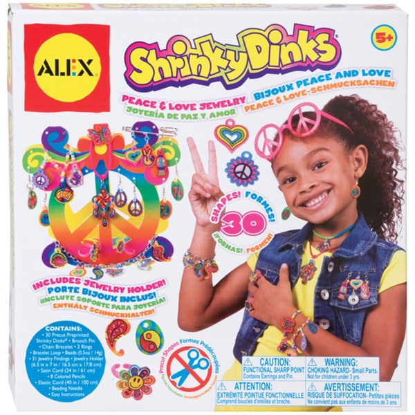 Shrinky Dinks Peace and Love Color and Bake Kid's Jewelry Kit