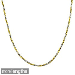 Fremada 14k Two-tone Gold Twisted Box Necklace (16 inches to 20 inches)