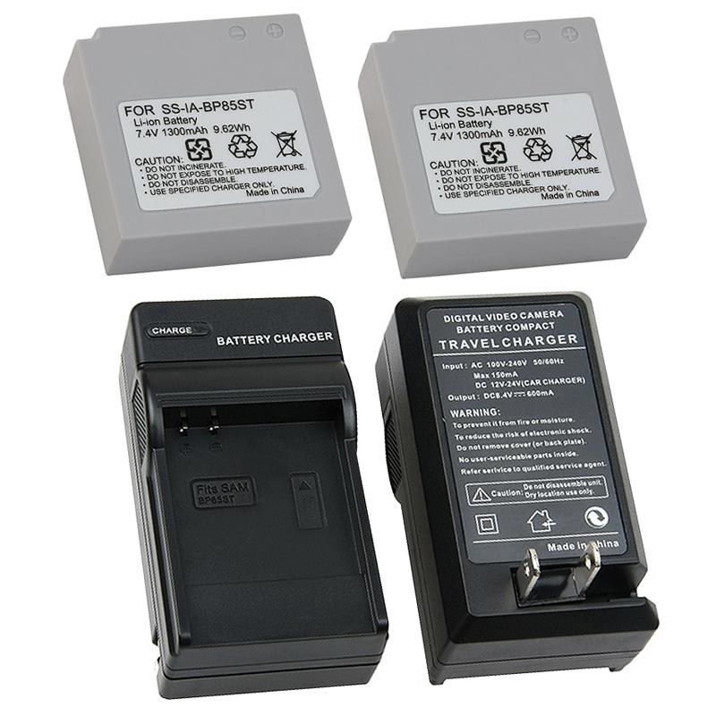 INSTEN 3-piece Battery/ Charger Set for Samsung IA-BP85ST/ HMX10/ SC-MX10