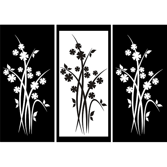 Three-panel Flower Design Vinyl Art at Sears.com