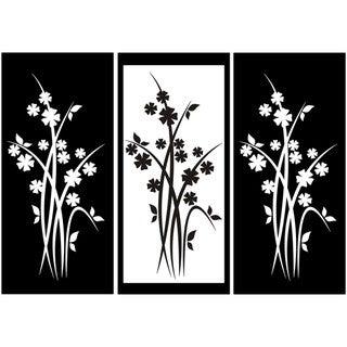 Three-panel Flower Design Vinyl Art
