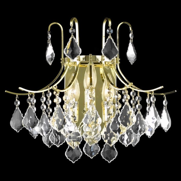 Somette Crystal Gold 3-light 65006 Collection Wall Sconce