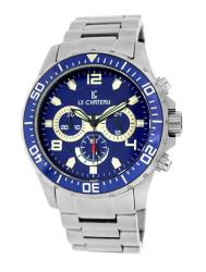 Le Chateau Men's Sport Dinamica All Steel Chronograph Watch with Blue Dial