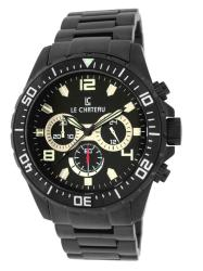 Le Chateau Men's Sport Dinamica Gun Plated All Steel Chronograph Watch
