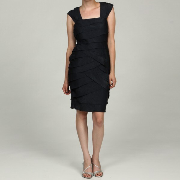 London Times Women's Navy Ruffle Dress