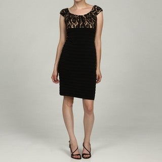 London Times Women's Black Lace Bodice Banded Cap-sleeve Dress