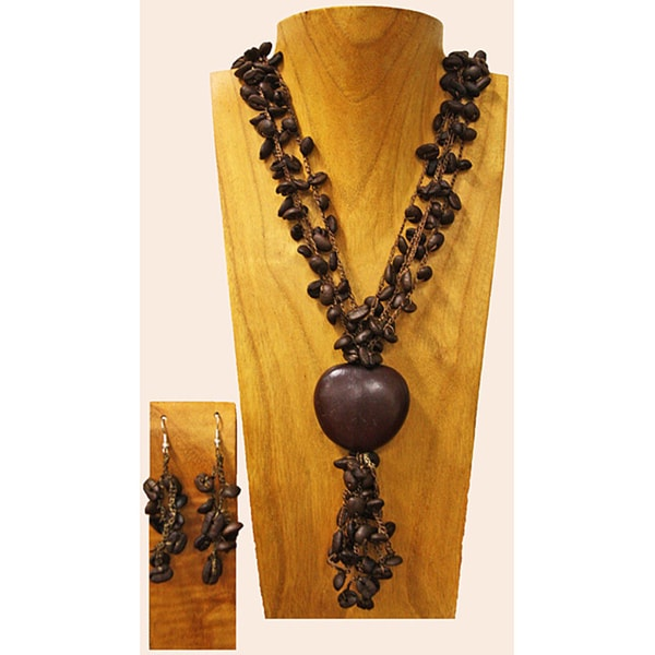 Coffee Bean and Congolo Seed Jewelry Set (Colombia)