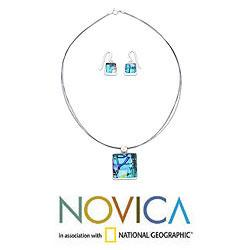 Sterling Silver 'Caribbean Horizon' Glass Jewelry Set (Mexico)