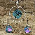Sterling Silver 'Hypnotic Blues' Dichroic Glass Jewelry Set (Mexico)