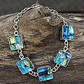 Dichroic Glass 'Urban Blues' Charm Bracelet (Mexico)