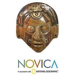 Handcrafted Ceramic 'Maya Glyphs' Mask (El Salvador)