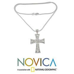 Sterling Silver 'Floral Faith' Cross Necklace (Mexico)