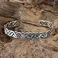 Sterling Silver 'Aztec Warrior' Cuff Bracelet (Mexico)