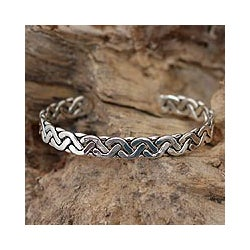 Sterling Silver 'Aztec Warrior' Cuff Bracelet (Mexico)