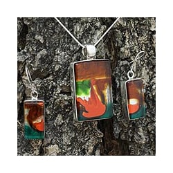 Sterling Silver 'Autumn Sunset' Art Glass Jewelry Set (Mexico)