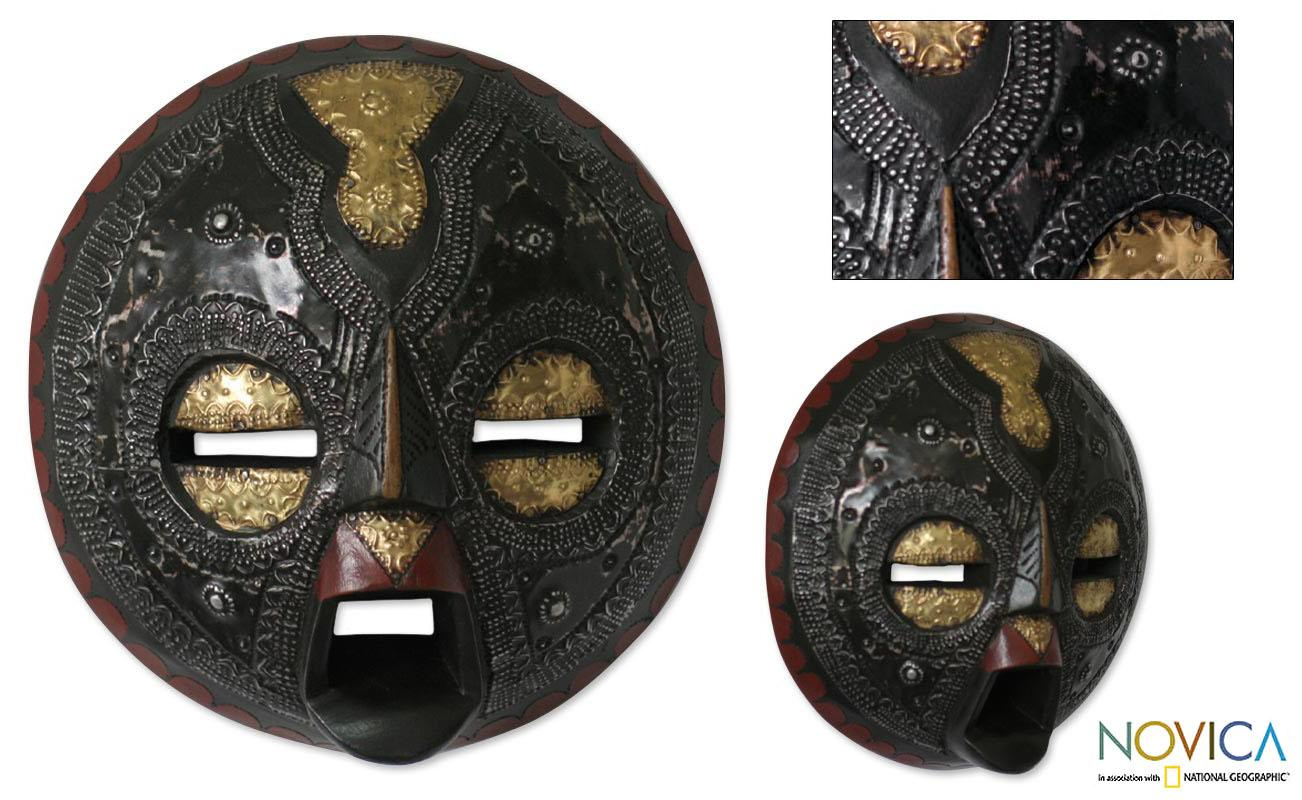 Handcrafted Sese Wood 'Sign of Protection' African Mask (Ghana)