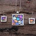 Sterling Silver 'Spring Abstract' Art Glass Jewelry Set (Mexico)