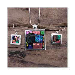 Sterling Silver 'Summer Abstract' Art Glass Jewelry Set (Mexico)